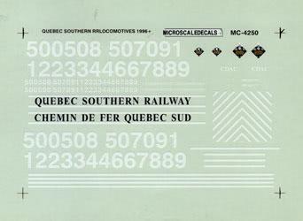 Microscale 604250 N Railroad Decal Set Quebec Southern Hood Diesels 1996+