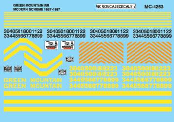 Microscale 604253 N Railroad Decal Set Green Mountain Diesel Locomotives 1988-1998