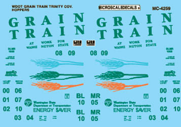 Microscale 604259 N Railroad Decal Set Covered Hoppers Washington State Department of Transportation Grain Train 1996+