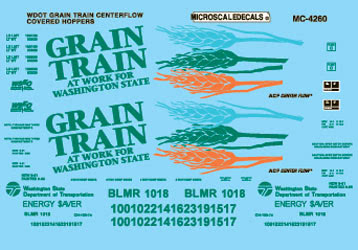 Microscale 604260 N Railroad Decal Set Covered Hoppers Washington State Dept. of Transportation Grain Train 1996+ Cntrflow
