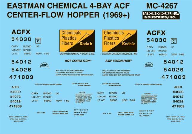 Microscale 604267 N Railroad Decal Set Covered Hoppers Kodak/Eastman Chemical ACF 4-Bay Centerflow 1960s Scheme