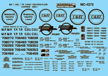 Microscale 604272 N Railroad Decal Set Mopac, Texas & Pacific C&EI 2-Bay Centerflow Covered Hoppers