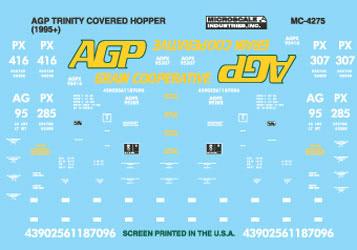 Microscale 604275 N Railroad Decal Set Covered Hoppers AGP Grain Trinity 3-Bay