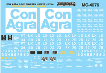 Microscale 604276 N Railroad Decal Set Covered Hoppers ConAgra Pullman-Standard 4750 3-Bay 1973
