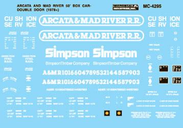 Microscale 604295 N Arcata & Mad River 50' Double-Door Box Cars 1978+
