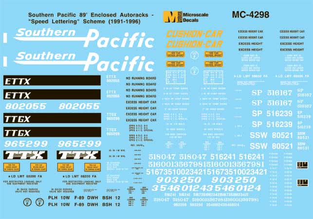 Microscale 604298 N Southern Pacific SP 89' Enclosed Autoracks w/Speed Lettering 1991-96