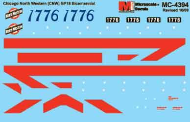 Microscale 604394 N Chicago & North Western CNW Mini-Cal Bicentennial GP18 #1776 1976+