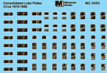 Microscale 5003 HO Consolidated Lube Plates 1970-1980