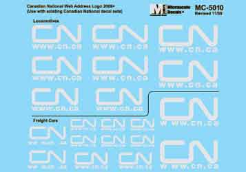 Microscale 5010 HO Canadian National Mini-Cal Locos & Freight Cars Noodle Logo w/Website Address Various Sizes